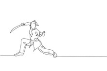 One Single Line Drawing Of Young Woman On Kimono Exercise Wushu Martial Art, Kung Fu Technique With Sword On Gym Center Vector Illustration. Fighting Sport Concept. Modern Continuous Line Draw Design
