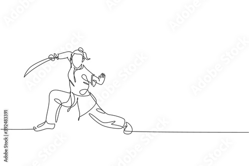 Fotografie, Obraz One single line drawing of young woman on kimono exercise wushu martial art, kung fu technique with sword on gym center vector illustration