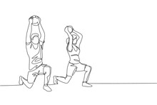 One Continuous Line Drawing Of Young Sporty Man And Woman Working Out With Weight Ball In Fitness Gym Club Center. Healthy Fitness Sport Concept. Dynamic Single Line Draw Design Vector Illustration