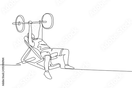 Canvas Print Single continuous line drawing of young sportive man training lift barbell on bench press in sport gymnasium club center