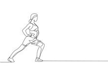 One Continuous Line Drawing Of Young Sporty Woman Working Out Stretching And Warming Up In Fitness Gym Club Center. Healthy Fitness Sport Concept. Dynamic Single Line Draw Design Vector Illustration
