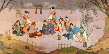 Tradition And Culture Of Asia. Oriental People. Tea Ceremony. Samurai Warrior And Geisha. Traditional Paintings. Classic Wall Drawing. Murals And Watercolor Asian Style. Ancient China And Japan