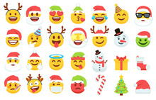 Christmas Emoji. Santa Claus Emoticon In Xmas Hat, Snowman And Funny Yellow Faces With Deer Antler Headband. Gift Box, Christmas Tree And Candy Vector Icons Set