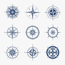 Marine Compass. Navigation Equipment For Determining Direction Of Movement. Cartography Symbol With South And North Or East And West Signs. Geographic Map, Vector Retro Orientation Instrument Icon Set