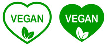 Vegan. Plant Based Vegeterian Food Product Label. Green Heart-shaped Stamp. Logo Or Icon. Diet. Sticker