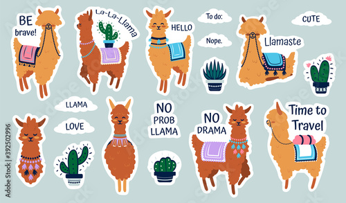 Fototapeta premium Lama stickers. Cute cartoon alpaca emblems for kids notebooks, funny hand drawn llama with cactus patches, adorable animals with plants decorative collection and short phrases vector isolated set