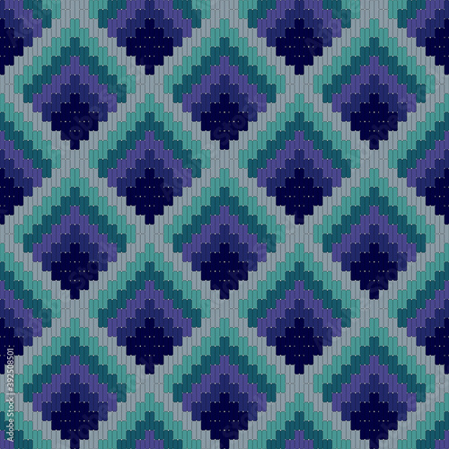 Fotografija Bargello seamless pattern in blue colors, traditional italian embroidery, floren