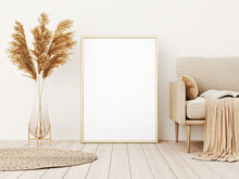 Vertical Frame Mockup In Warm Living Room Interior With Beige Sofa, Pillows, Plaid, Dried Pampas Grass, Wicker Rug And Boho Style Decoration On Empty Wall Background. 3D Rendering, Illustration