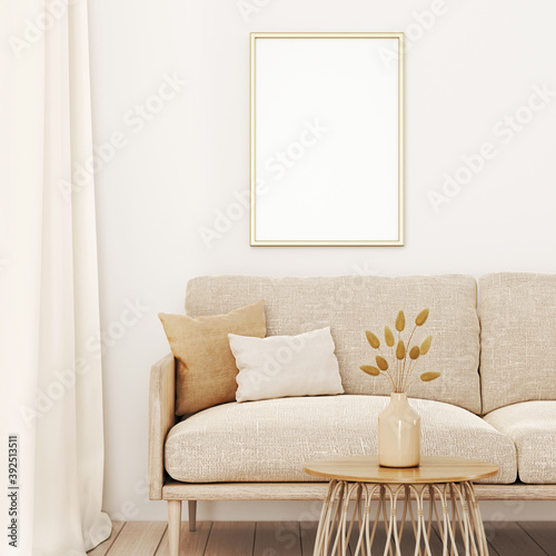 Vertical frame mockup in warm living room interior with beige sofa, pillows, dried grass in vase and boho style decoration on empty wall background. 3D rendering, illustration