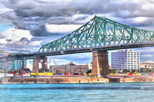 Jacques Cartier Bridge Colorful Painting, St Lawrence River, Montreal, Quebec, Canada.