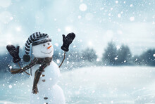 Cute Smiling Snowman With Striped Hat And Scarf. Winter Fairytale.Merry Christmas And Happy New Year Greeting Card With Copy-space
