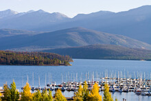 Dillon Marina Autumn - Sail Boats Docked At Dillon Marina On Dillon Reservoir In Autumn With Arapahoe National Forest In Background, Summit County, Colorado
