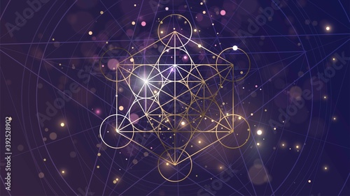 Canvastavla Golden sacral symbol of Metatron's Cube on the background of space