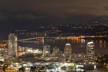 City Of Kelowna At Night, British Columbia, Canada