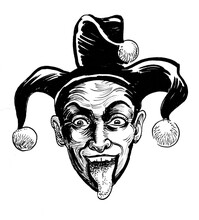 Laughing Jester Head. Ink Black And White Drawing