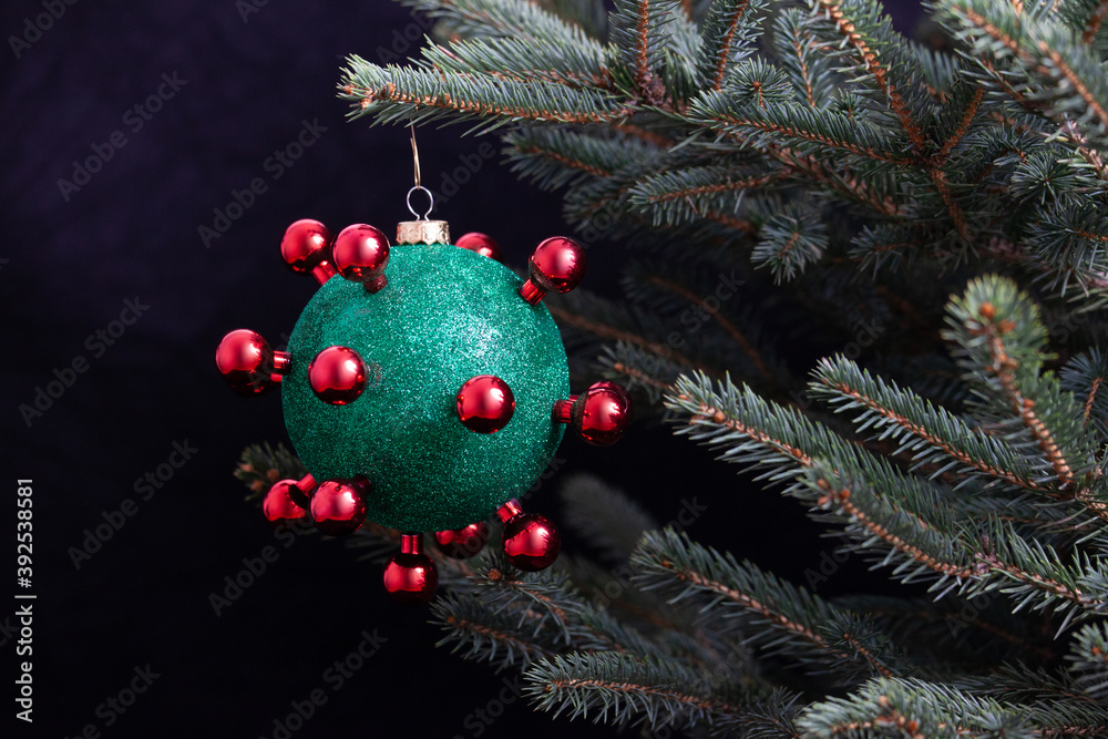 Fototapeta Covid 19 Corona Christmas Bauble on Tree