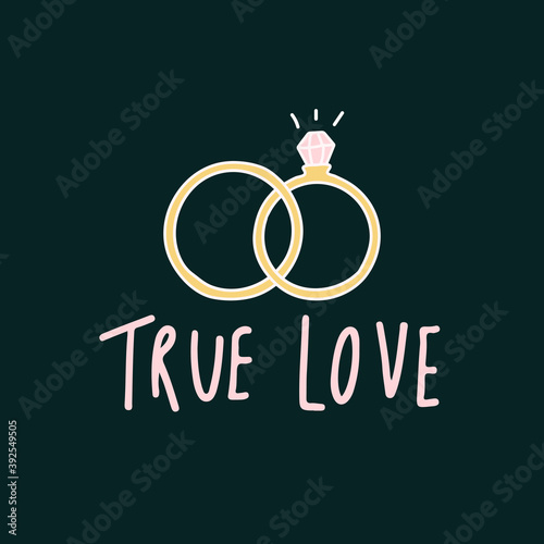Photo True love typography with wedding rings vector