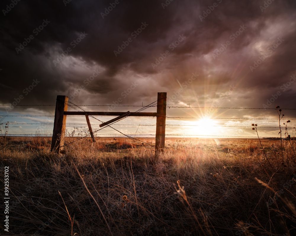 Fototapeta Fence post and a barbed wire fence at sunset in the countryside on a farm. The sky is dark with clouds and there is grass in the foreground.