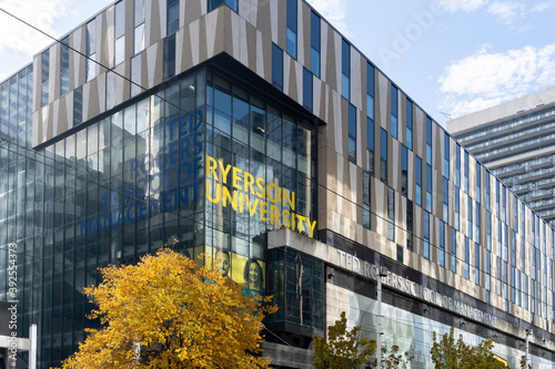 Fototapeta premium Toronto, Canada-November 9, 2020: Ryerson University building is shown in Downtown Toronto, Canada. Ryerson University, simply Ryerson or RyeU, is a public research university in Toronto.