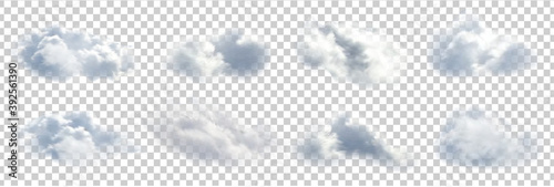 Obraz Vector set of realistic isolated cloud on the transparent background. - fototapety do salonu
