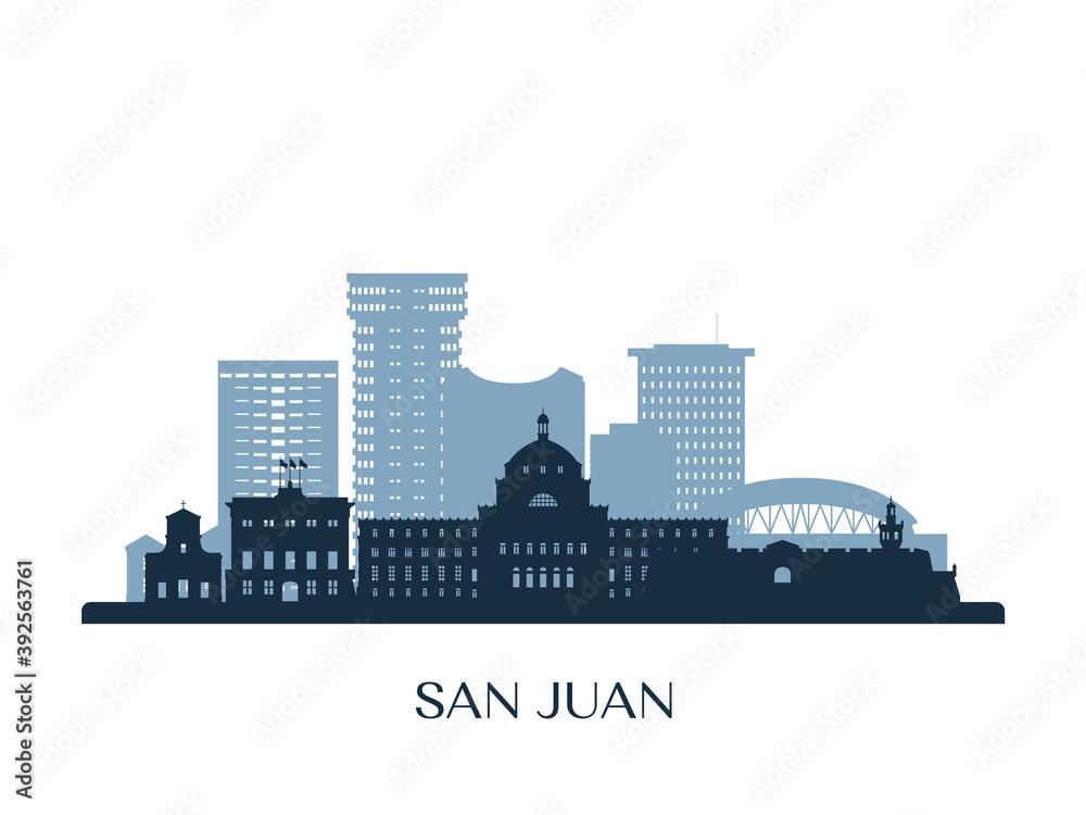 Fototapeta San Juan, Puerto Rico skyline, monochrome silhouette. Vector illustration.