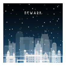 Winter Night In Newark. Night City In Flat Style For Banner, Poster, Illustration, Background.