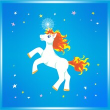 Joyful Cartoonish White Blue-eyed Unicorn With Fly-away Yellow And Orange Mane And Tail, Prancing And Rearing Up In Colourful Stars In Shiny Blue Sky. Flat Vector Illustration For Prints, Decor.