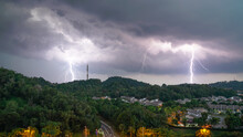 Lightning Storm Over A Hill Wi...