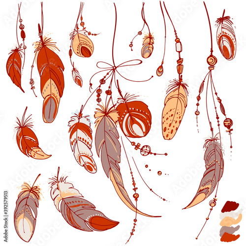 Fotografie, Obraz Dreamcatcher, Set of ornaments, feathers and beads