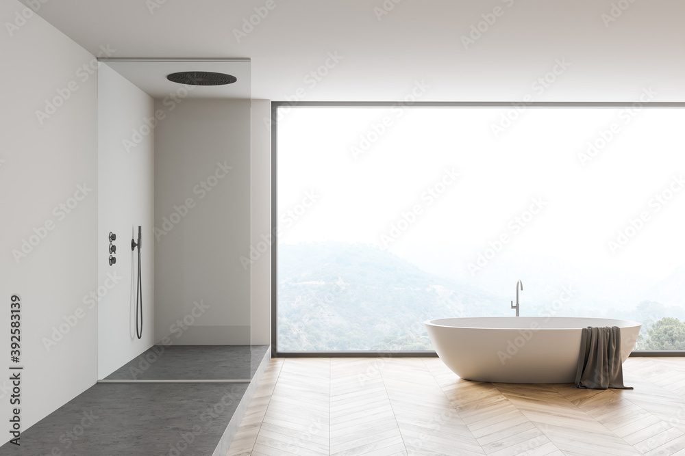 Fototapeta White bathroom interior with tub and shower