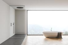 White Bathroom Interior With T...