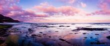 Reflection Of Sunset Sky Along...