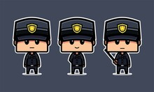 Set Of Cute Police Character. Illustration Vector