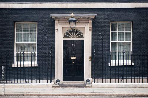 Entrance door of 10 Downing Street in London on June 16, 2013. The street was built in the 1680s by Sir George Downing  and is now the residence of the Prime Minister.
