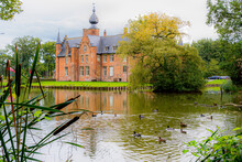 Castle In The Envirement Of Roeselare Surrounded By Ducks, Sterrebos Public Domain At Rumbeke.  Ducks Living Peacefull At Castle.