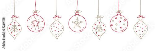 Fotografía Christmas balls with decorations. Vector