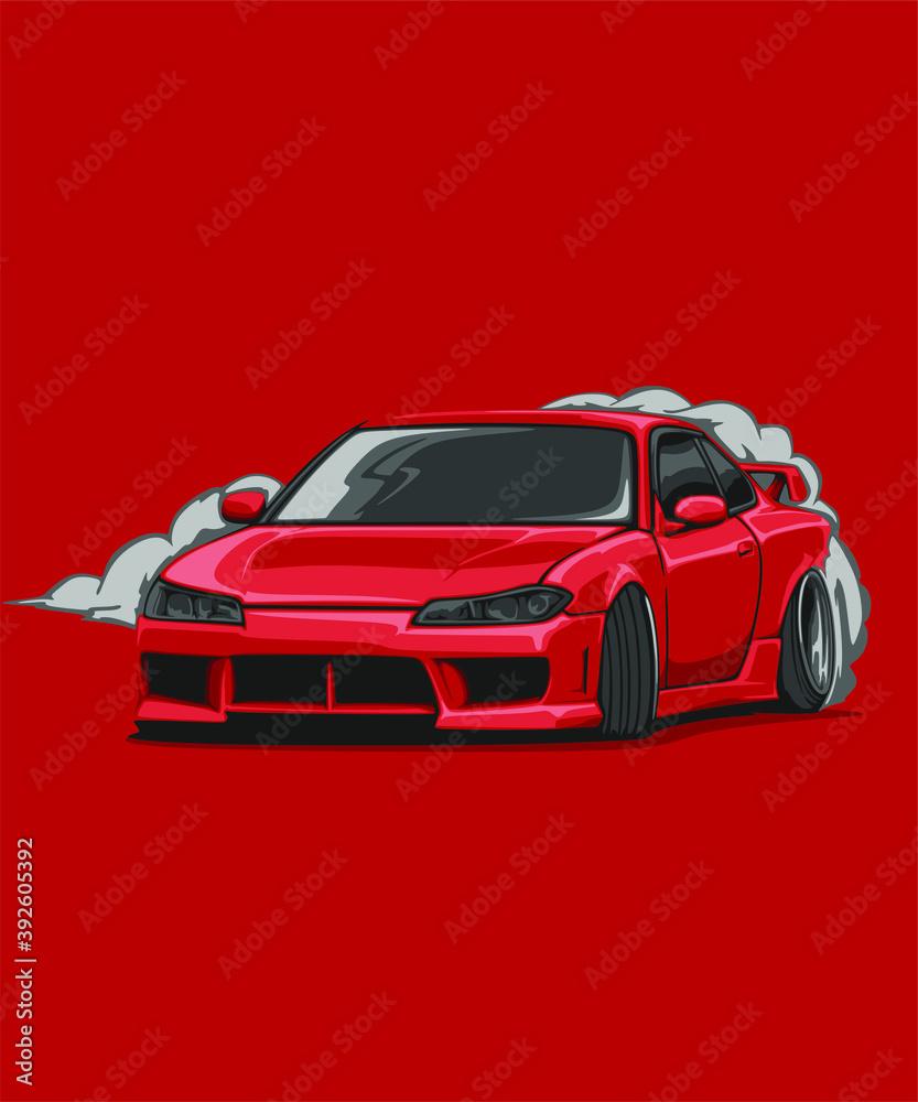Fototapeta Illustrated detailed japanese cars jdm