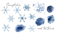 Watercolor Snowfalkes Frames, Watercolor Winter Holiday Clipart, Hand Drawn Navy Blue Snowflakes For Planner , Greeting Cards, Gift Tags