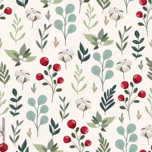 Fototapeta Merry Christmas seamless patternwith floral hand drawn scandinavian branches and leaves, eucalyptus, winter berries. Winter holiday repeated background for wrapping paper, fabric, christmas decoration obraz
