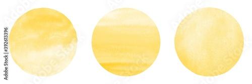 Fotografia Chrome, amber yellow watercolor circles set, collection