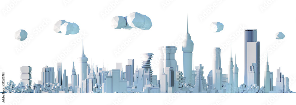 Fototapeta Modern City 3D render view. Business and banking area with skyscrapers, modern corporate architecture, Capital city, futuristic cityscape. Business background