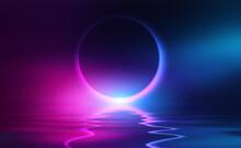 Dark Abstract Background. Neon Light Circle Figure. Reflection Of Neon Light On The Water. Beach Party. 3d Illustration