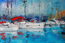 Art Oil Painting Picture Sailboats In Italy