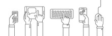 Human Hands Holding Different Smart Devices Such As Smartphone, Tablet, Mobile Phone. Outline Vector Illustration With Black Stroke For Web And Ui Business Design