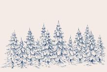 Pine Forest Hand Drawn Border. Winter Landscape
