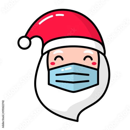 Santa Claus head face mask funny covid christmas #392622742