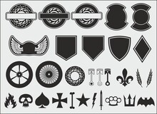 Patches And Stickers For Bikers, As Well As A Small Set Of Design Elements Of This Style