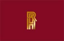 Typography Letter RH Linked Linear Monogram Gold Design Logo