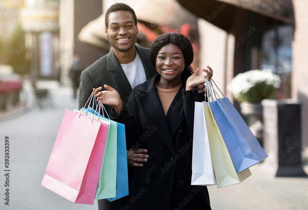 Fototapeta Season sale, consumerism, Black friday and family walk