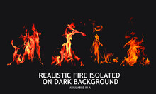 Set Of Isolated Fire Images On...